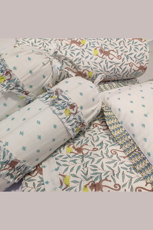 Earthen Nest Hand Block Printed Kids Furnishings- Banana Monkey