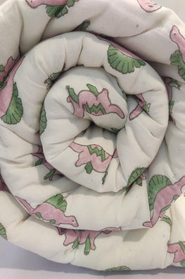 Earthen Nest Hand Block Printed Cotton Kids Quilt- Baby Dino