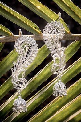 Silver Linings Peacock Handmade Silver Filigree Cuff Earrings For Women