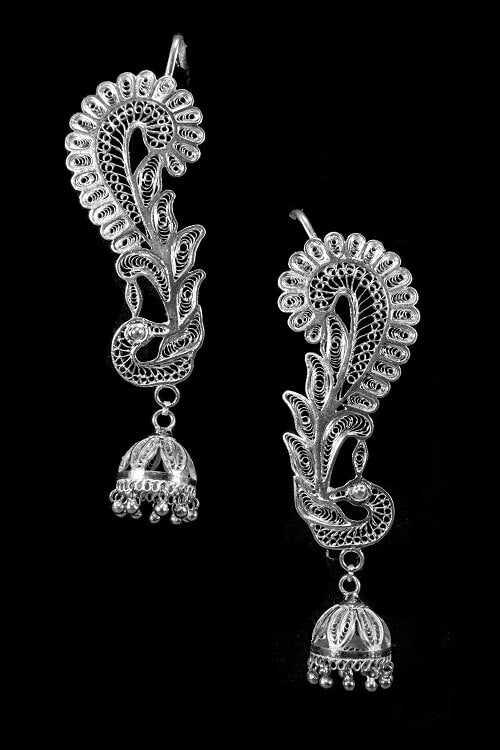 "Silver Linings ""Peacock"" Silver Filigree Handmade Cuff Earrings"