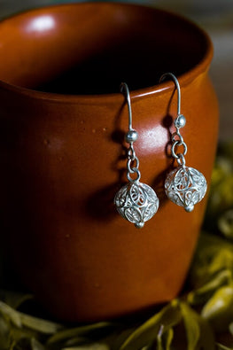 Silver Linings Bead Handmade Silver Filigree Dangle Earrings Online