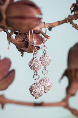 Silver Linings Ball Handmade Silver Filigree Dangle Earrings Online