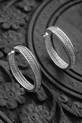 Silver Linings Hoop Handmade Silver Filigree Earrings For Women Online