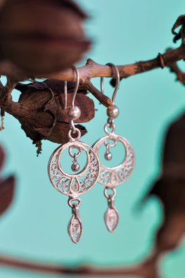 "Silver Linings ""Swaying"" Silver Filigree Handmade Chandbali Earrings"