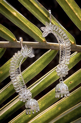 Silver Linings Statement Handmade Silver Filigree Cuff Earrings For Women