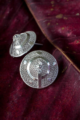Silver Linings Cone Handmade Silver Filigree Studs Earrings For Women