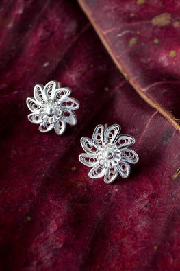 Silver Linings Chakri Handmade Silver Filigree Studs Earrings For Women