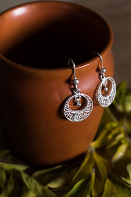 Silver Linings Mini Handmade Silver Filigree Chandabali Earrings For Women