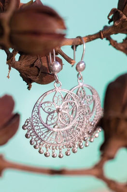 Silver Linings Classy Handmade Silver Filigree Chandabali Earrings For Women