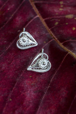 Silver Linings Heart Handmade Silver Filigree Studs Earrings For Women
