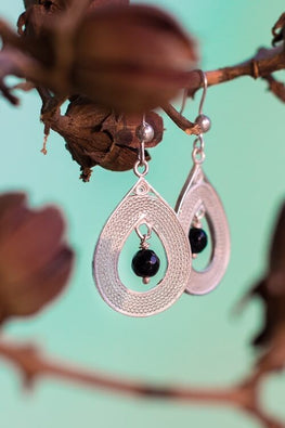 Silver Linings Black Drops Handmade Silver Filigree Dangle Earrings Online