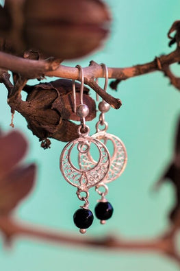 "Silver Linings ""Black"" Silver Filigree Handmade Dangle Earrings"
