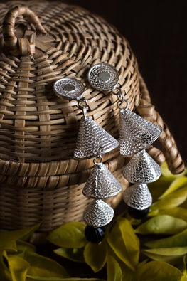 Silver Linings Cascade Handmade Silver Filigree Jhumka Earrings Online