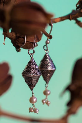Silver Linings Cone Handmade Silver Filigree Dangle Earrings Online