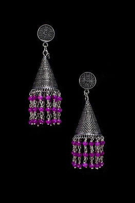 Silver Linings Purple Magic Handmade Silver Filigree Jhumka Earrings Online