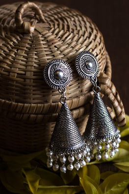 Silver Linings White Magic Handmade Silver Filigree Jhumka Earrings Online