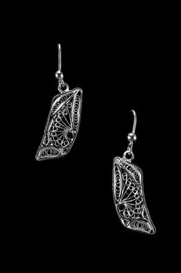 Silver Linings Paisley Handmade Silver Filigree Dangle Earrings Online