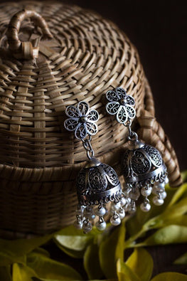 Silver Linings Pearl Handmade Silver Filigree Jhumka Earrings Online