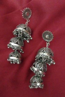 Silver Linings Trio Handmade Silver Filigree Jhumka Earrings Online