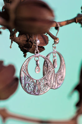 Silver Linings Graceful Handmade Silver Filigree Dangle Earrings Online