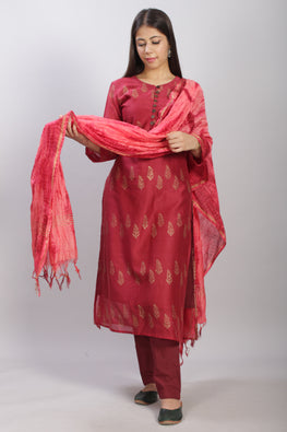 Pigment Handblock Print Chanderi Kurti with Dupatta and pant-3