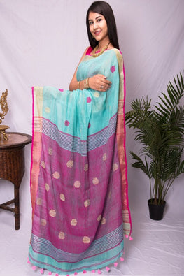 Elegance in Linen. Pure Handwoven Linen Saree with  Zari Border (With Blouse Piece)
