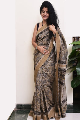 Elegant in Beige & Black. Fine, Soft Block Printed Chanderi Saree (With Blouse Piece)