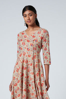 Okhai 'Entice' Cotton Mul Hand Block Print Dress