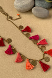 Dhaaga Handcrafts - Reds & pinks tassel coin necklace