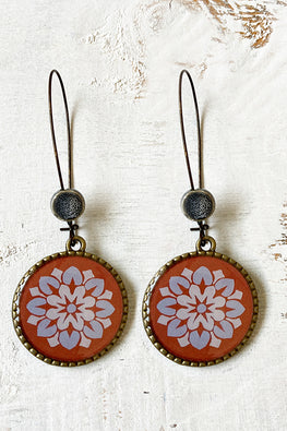 'FroggMag' Earring - 25Mm Hoop With Beads- Painted Medallion, City Palace, Jaipur