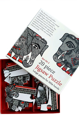 "Froggmag ""Madhubani Elephants"" 20 Pieces Jigsaw Puzzle"