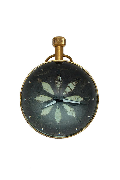 "Froggmag ""Stone Inlay, Orchha"" Brass Paper Weight Clock"
