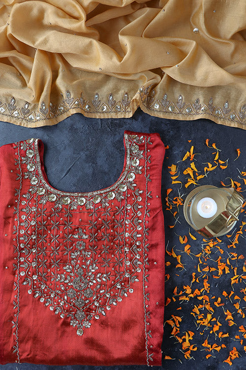 Urmul 'Neera' Hand Embroidered Mashru Silk Kurta Set (3 Piece Set)