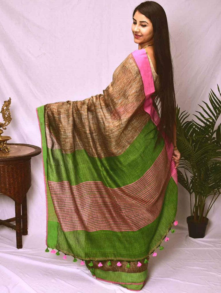 Flowing & Graceful. Pure Handwoven Linen Saree (With Blouse Piece)