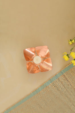 Okhai Foliole Copper Votive Candle Holder Online