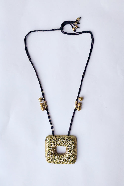 Miharu Swirling Spiral Dhokra Necklace-1