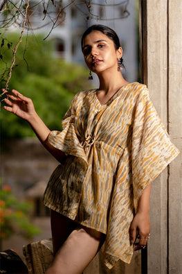 Creative Bee 'MORJIM' Natural Dyed Marigold Shibori Cotton x Silk Kaftan