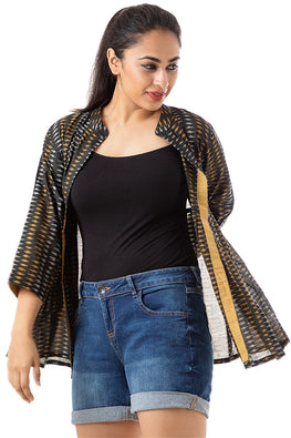 Creative Bee 'SAMERII' Handwoven Cotton Ikat Gathered Jacket
