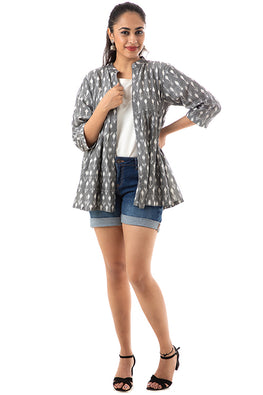 Creative Bee 'BAGAN' Handwoven Cotton Ikat Gathered Jacket