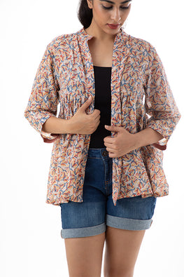 Creative Bee 'TULIPA' Natural Dyed Block-Print Handwoven Gathered Jacket