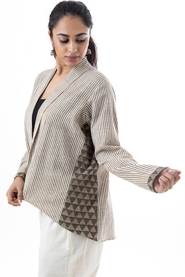 Creative Bee 'BRUMMELL' Natural Dyed Block-Print Handwoven Cotton Business Jacket