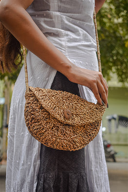 Gramya Handcrafted Banana Fibre Half Moon Crochet Bag