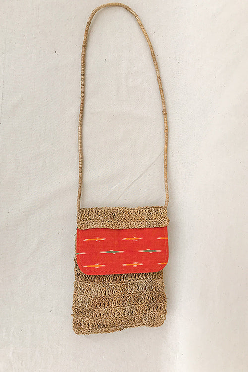 Gramya Handcrafted Banana Fibre Large Gypsy With rust ikat panel Bag