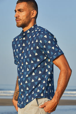Okhai 'Compassion' Pure Cotton Handblock Printed Half-Sleeve Shirt