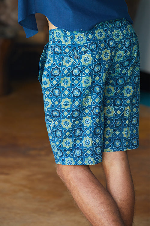"Okhai 'Centered' Pure Cotton Ajrakh Shorts (Inseam 8"")"