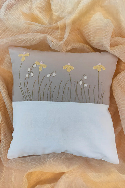 Floral Hand Embroidered Dual Color Cushion Cover