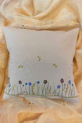 Whebyabira-Handembroidered floral cushion cover