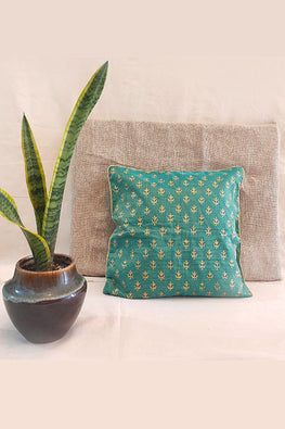 Whebyabira-Handblock printed Green Kota festive cushion cover