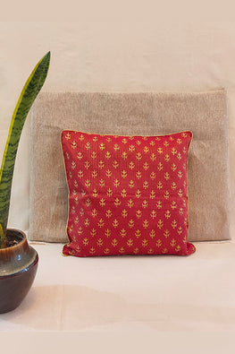 Whebyabira-Handblock printed Red Kota festive cushion cover