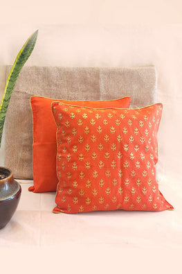 Whebyabira-Handblock printed Orange Kota festive cushion cover